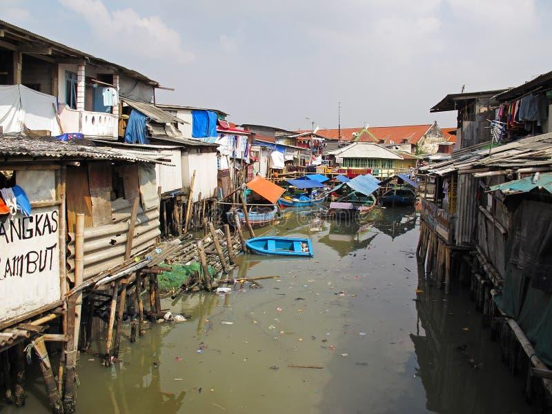 Slumområde i Jakarta - Indonesien royaltyfri bild