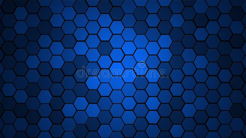 Slumpmässig bakgrund för honungskakarastertegelplatta eller sexhörnig celltextur i färg som är blå med mörk eller svart lutning t arkivbild