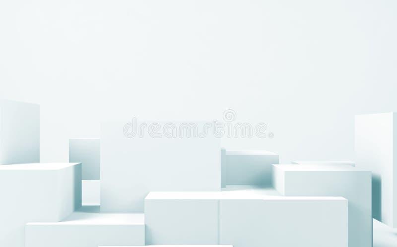 Slumpmässig kubinstallation, blå tonad 3d vektor illustrationer