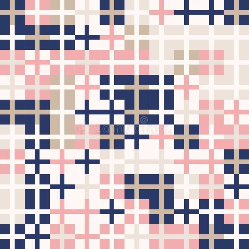Slumpmässig kulör abstrakt geometrisk korsad bakgrund för fyrkantmosaikmodell royaltyfri illustrationer