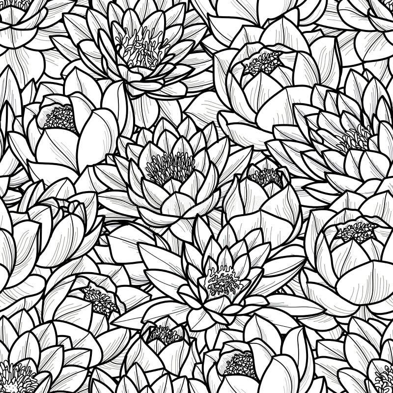 Slumpmässig lotusblommablomma i svart översikt på vit bakgrund Sömlös modellvektorillustration vektor illustrationer