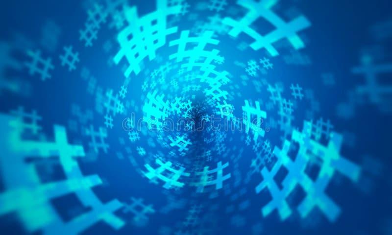 Slumpmässig modellbakgrund för blå hashtag vektor illustrationer