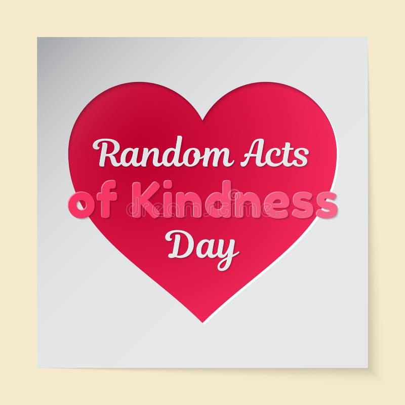 Slumpmässiga handlingar av illustrationen för vektor för vänlighetdagtema En rosa hjärta som ut klipps, i pappers- och att likna  vektor illustrationer