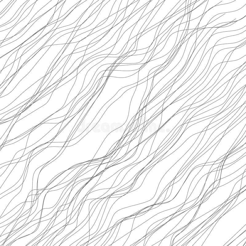 Slumpmässiga linjer abstrakt monokrom geometrisk textur/modell royaltyfri illustrationer