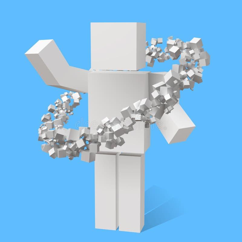 Slumpmässiga storleksanpassade kuber som roterar i eliptic omlopp runt om kubiktecken vektor illustrationer