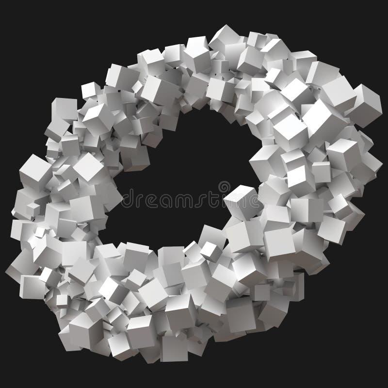 Slumpmässiga storleksanpassade kuber som roterar i rund omlopp vektor illustrationer