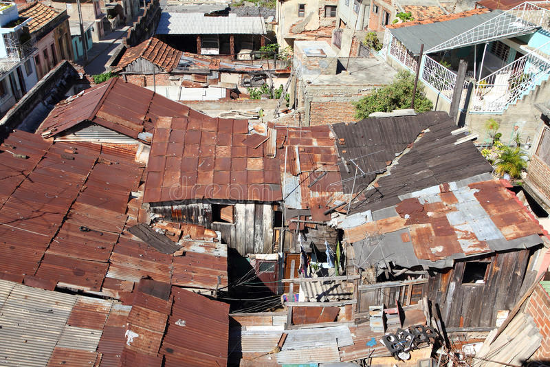 Slums. Area - poor buildings in Santiago de Cuba stock images