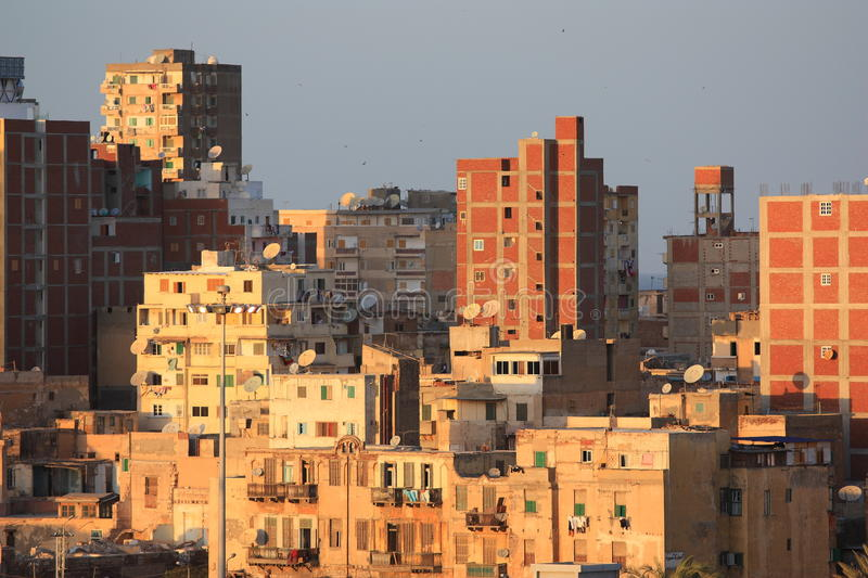 The slums of Alexandria. The shaggy houses of Alexandria in Egypt, slums royalty free stock photography