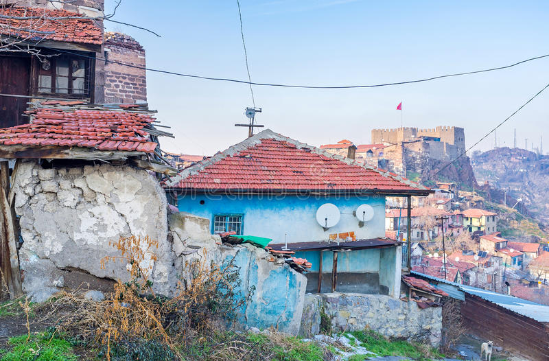 The slums in Ankara. The slums and dilapidated housing in the city center is one of the main problems of Ankara, Turkey stock photography