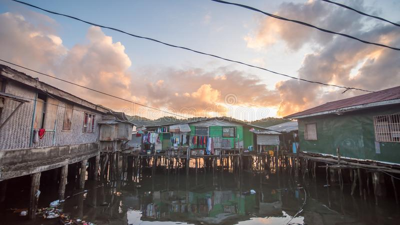 Slums of the city of Coron early in the morning. Philippines. stock images