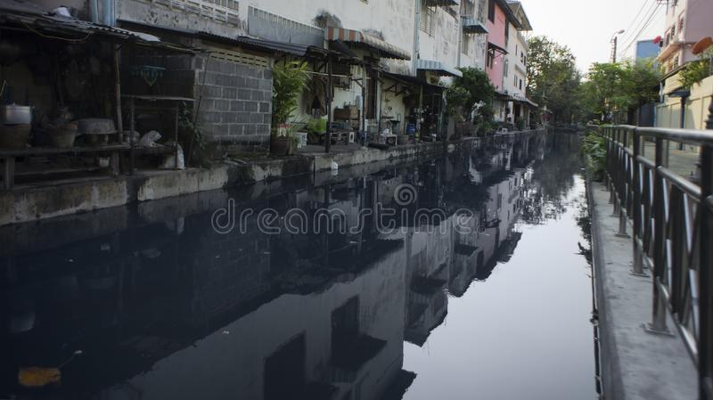 Slums house poor ramshakle of Southeast Asia along the Klong. Thailand, Bangkok photo. Slums house poor ramshakle of Southeast Asia along the Klong River royalty free stock photography