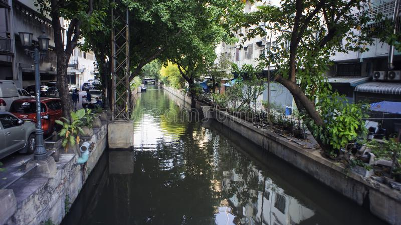 Slums house poor ramshakle of Southeast Asia along the Klong. Thailand, Bangkok photo. Slums house poor ramshakle of Southeast Asia along the Klong River royalty free stock photo