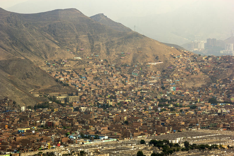 Slums in Lima in Peru. View on slums in Lima in Peru stock photography