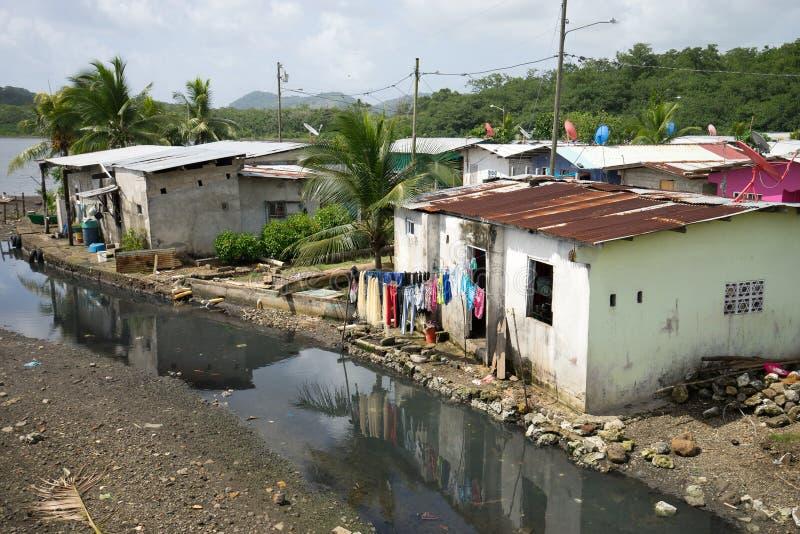 Slums in Panama. June 12, 2016 Portobelo, Panama: slums next to the tourist attraction of Fort Jeronimo royalty free stock photos