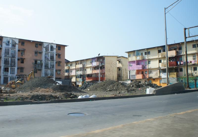 Slums in Panama. View of construction and apartments royalty free stock image