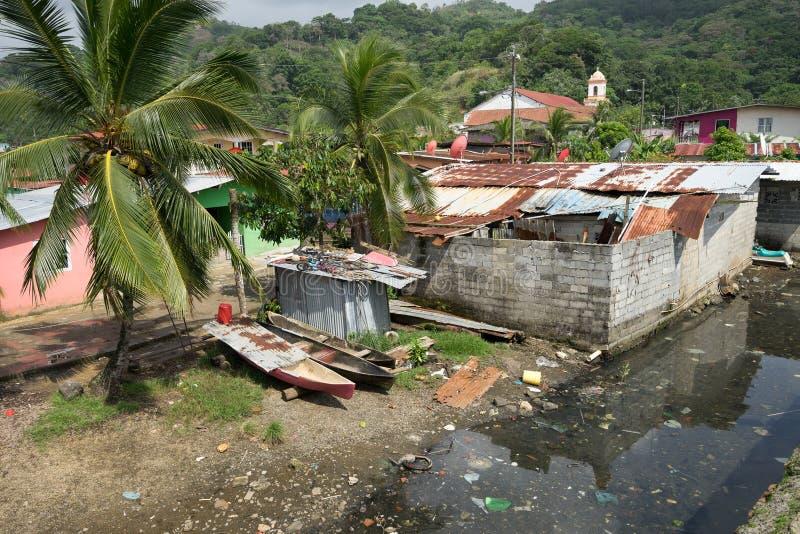 Slums in Portobelo Panama. June 12, 2016 Portobelo, Panama: slums next to the tourist attraction of Fort Jeronimo royalty free stock photography