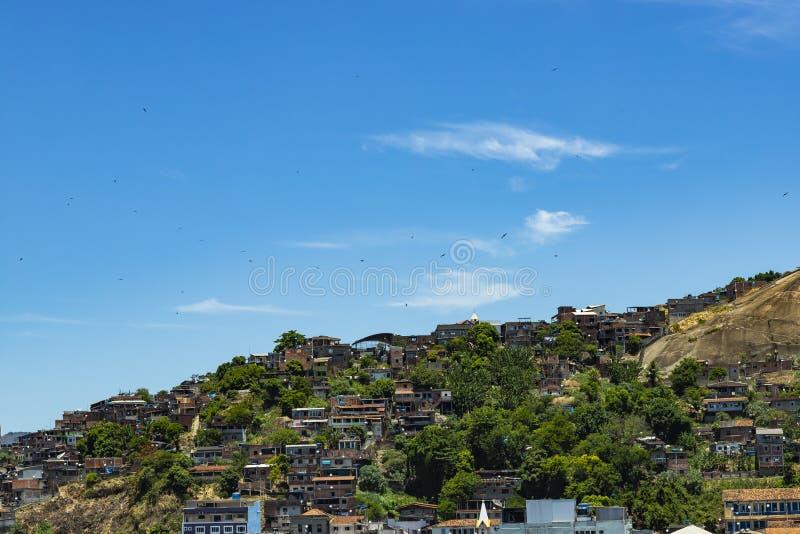 Slums of the world. Favelas of Brazil. Slum in the city of Niteroi, Penha Hill slum. Rio de Janeiro state Brazil royalty free stock image