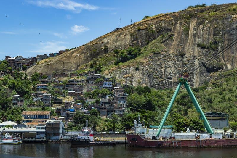 Slums of the world. Favelas of Brazil. Slum in the city of Niteroi, Penha Hill slum. Rio de Janeiro state Brazil stock image