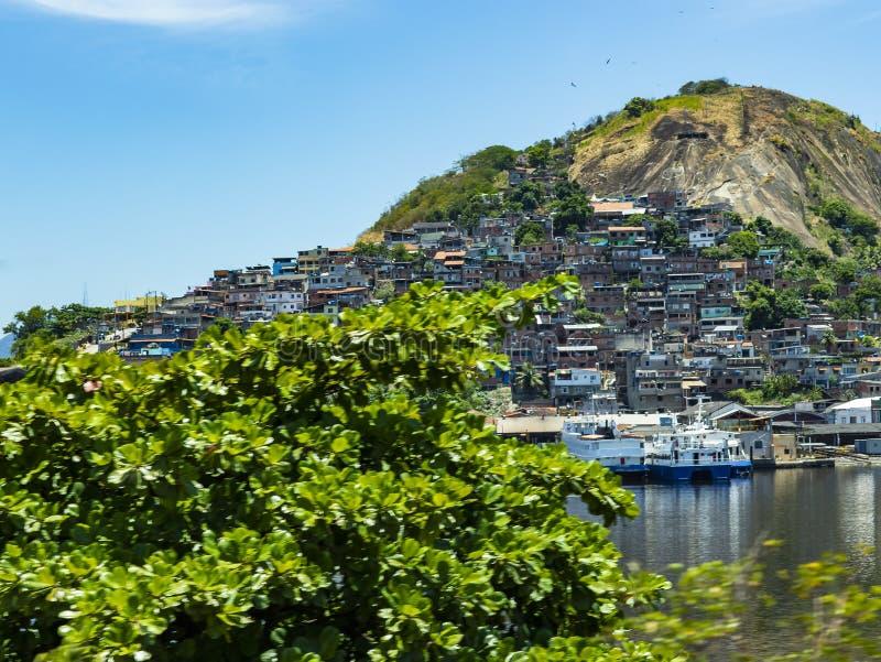 Slums of the world. Favelas of Brazil. Slum in the city of Niteroi, Penha Hill slum. Rio de Janeiro state Brazil royalty free stock photo