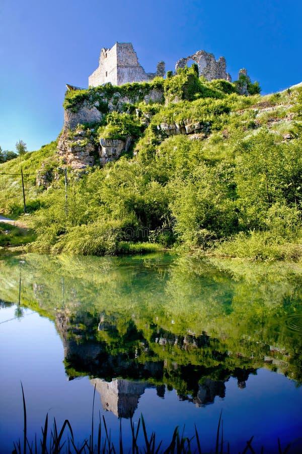 Slunj fortress ruins river reflection. Croatia stock image