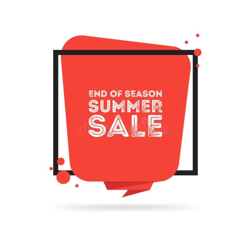 Slut av banret för försäljning för säsongsommar det stora royaltyfri illustrationer