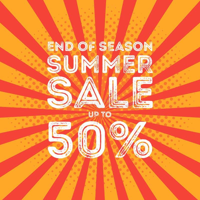 Slut av banret för försäljning för säsongsommar det stora vektor illustrationer
