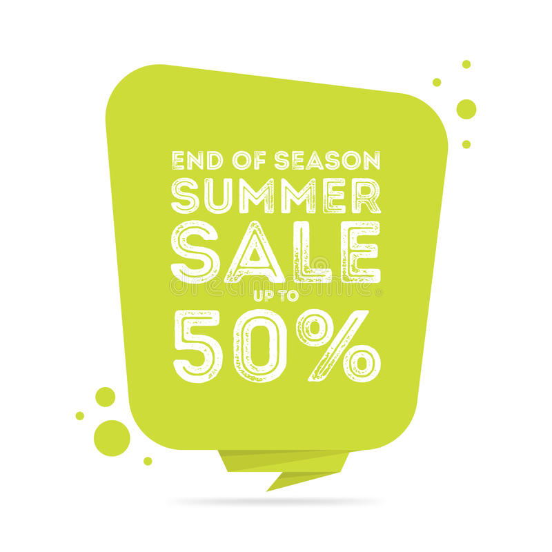 Slut av banret för försäljning för säsongsommar det stora stock illustrationer