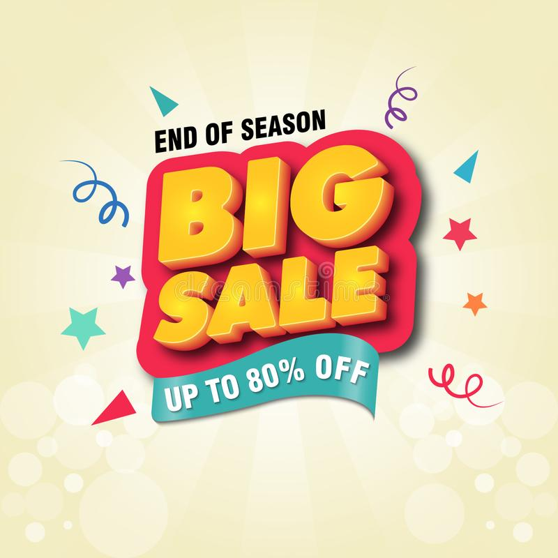 Slut av för Sale för säsong den stora designen för mall för baner affisch stock illustrationer