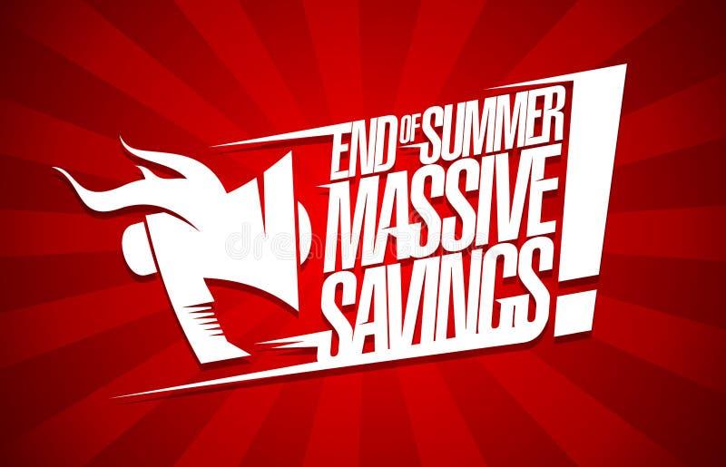 Slut av massiva besparingar för sommar, försäljningsaffisch stock illustrationer