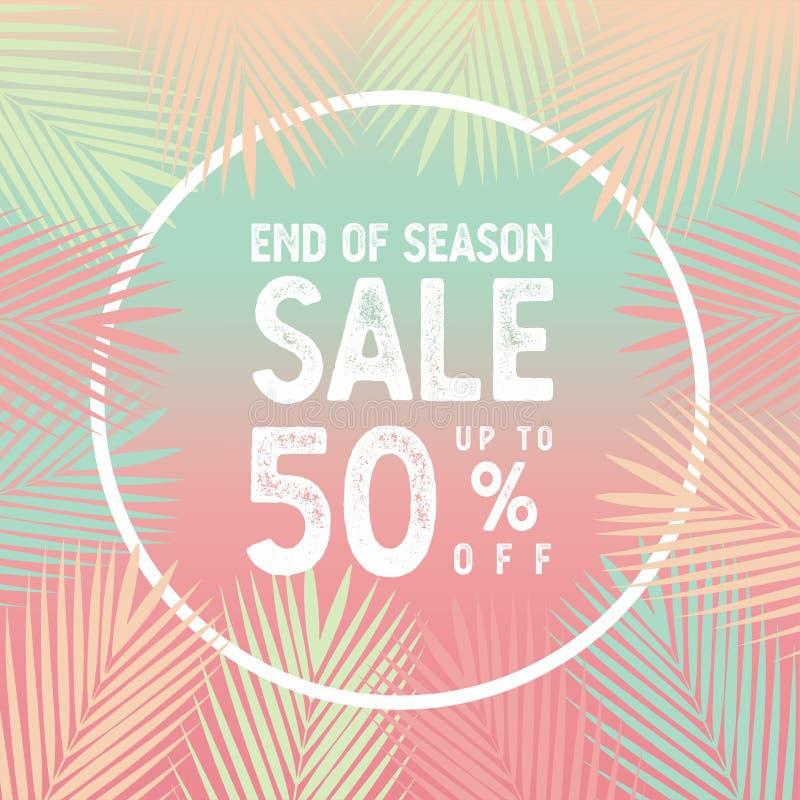 Slut av säsongförsäljningen upp till 50 procent banervektor, palmblad med det vita gränsbegreppet vektor illustrationer