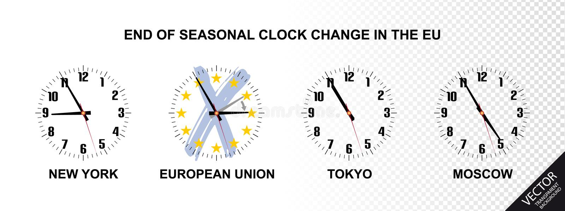Slut av säsongsbetonad klockaändring i den europeiska unionen - vektorillustrationbegrepp stock illustrationer