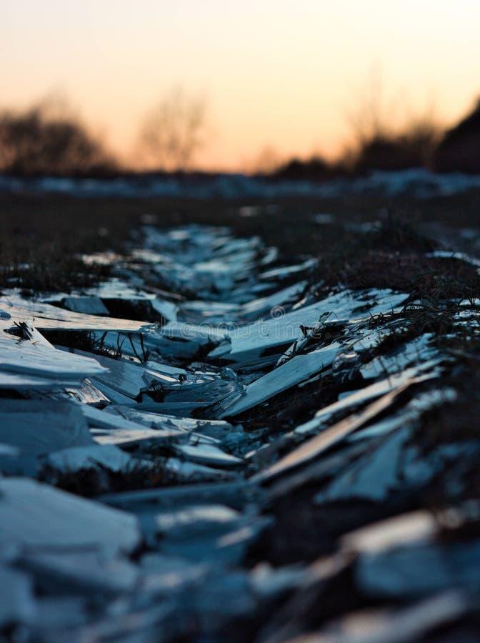 Slut för Craked isväg upp fotografering för bildbyråer