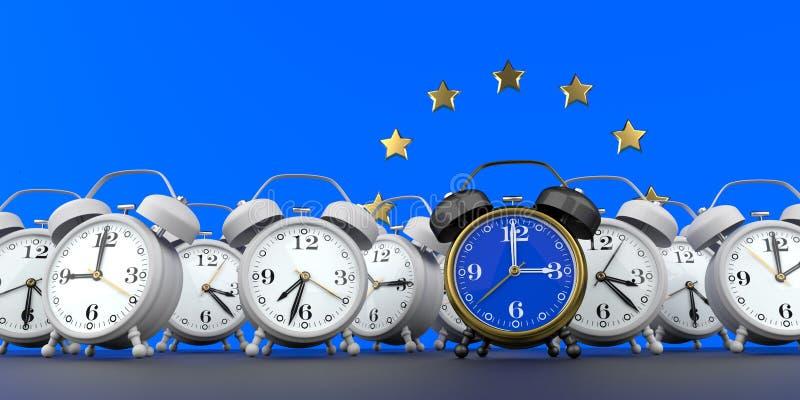 Slut f?r europeisk union av Tid ?ndring vektor illustrationer