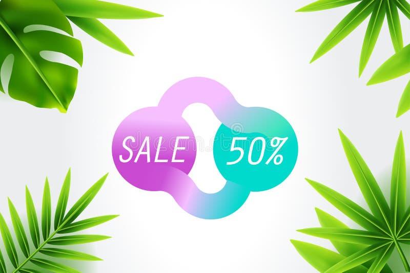 Slut för sommarförsäljningsrabatt av säsongbanerdesignen med tropisk lövverk, illustrationbakgrund Kunna använt för presentkort, stock illustrationer