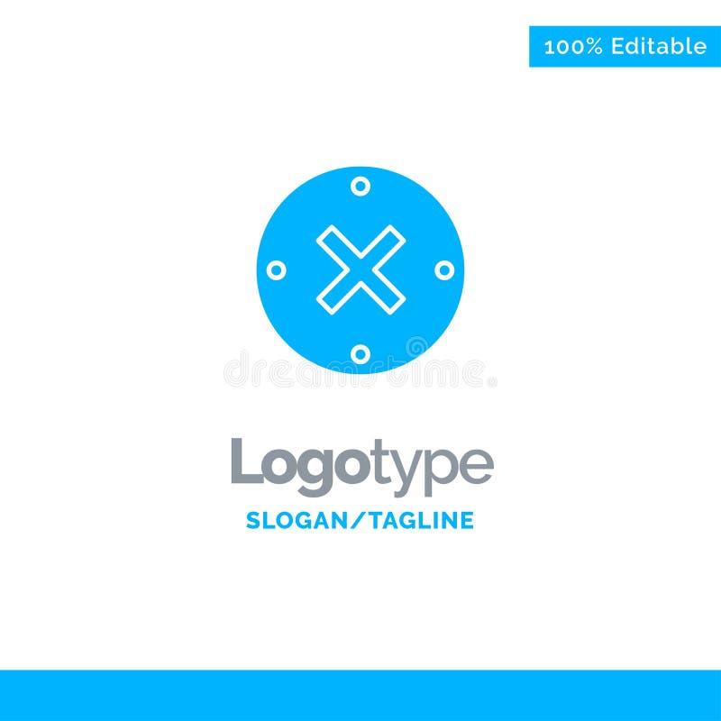 Slut kors, borttagnings, annullering blåa fasta Logo Template St?lle f?r Tagline vektor illustrationer