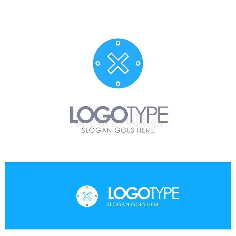 Slut kors, borttagnings, blå fast logo för annullering med stället för tagline stock illustrationer