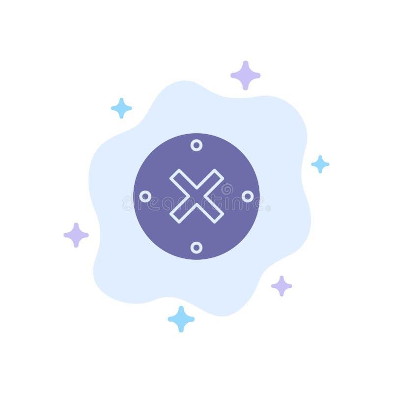 Slut kors, borttagnings, blå symbol för annullering på abstrakt molnbakgrund royaltyfri illustrationer