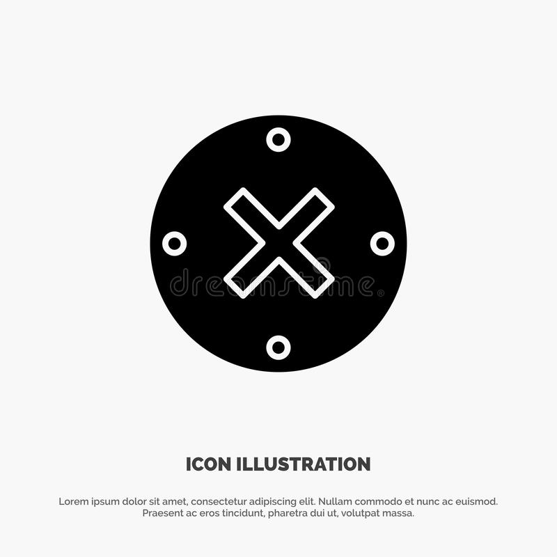 Slut kors, borttagnings, för skårasymbol för annullering fast vektor royaltyfri illustrationer