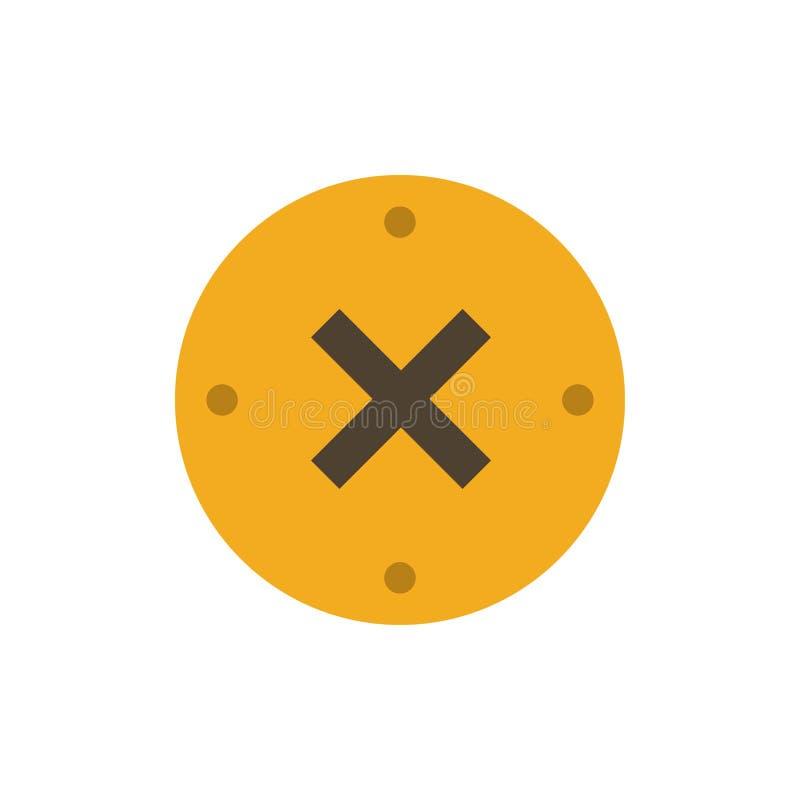 Slut kors, borttagnings, plan färgsymbol för annullering Mall för vektorsymbolsbaner royaltyfri illustrationer