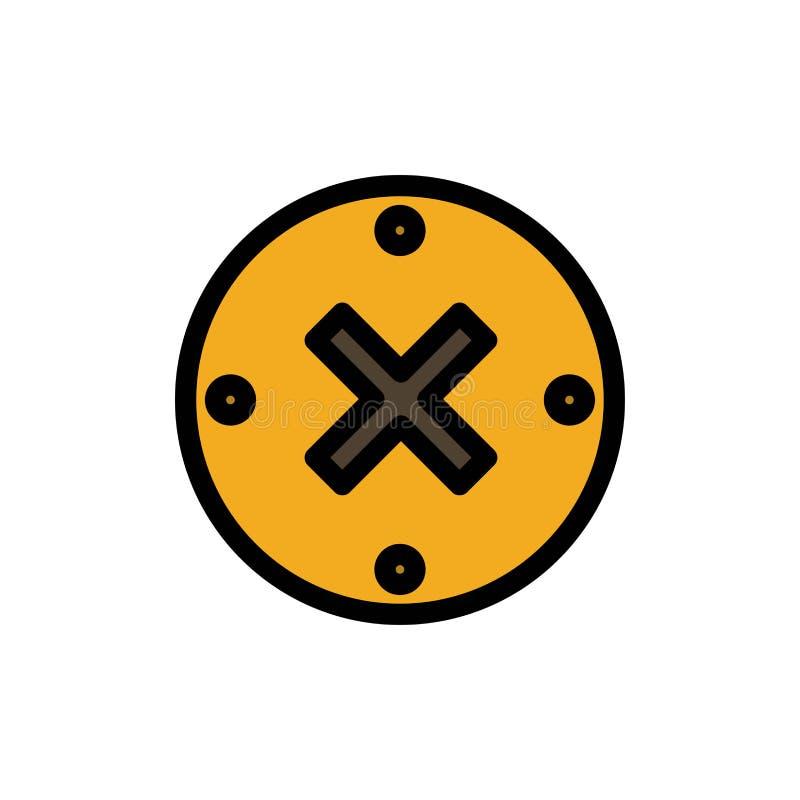 Slut kors, borttagnings, plan färgsymbol för annullering Mall för vektorsymbolsbaner vektor illustrationer