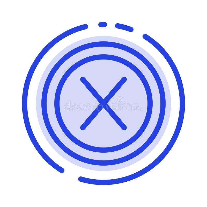 Slut kors, manöverenhet som är ingen, blå prickig linje linje symbol för användare stock illustrationer