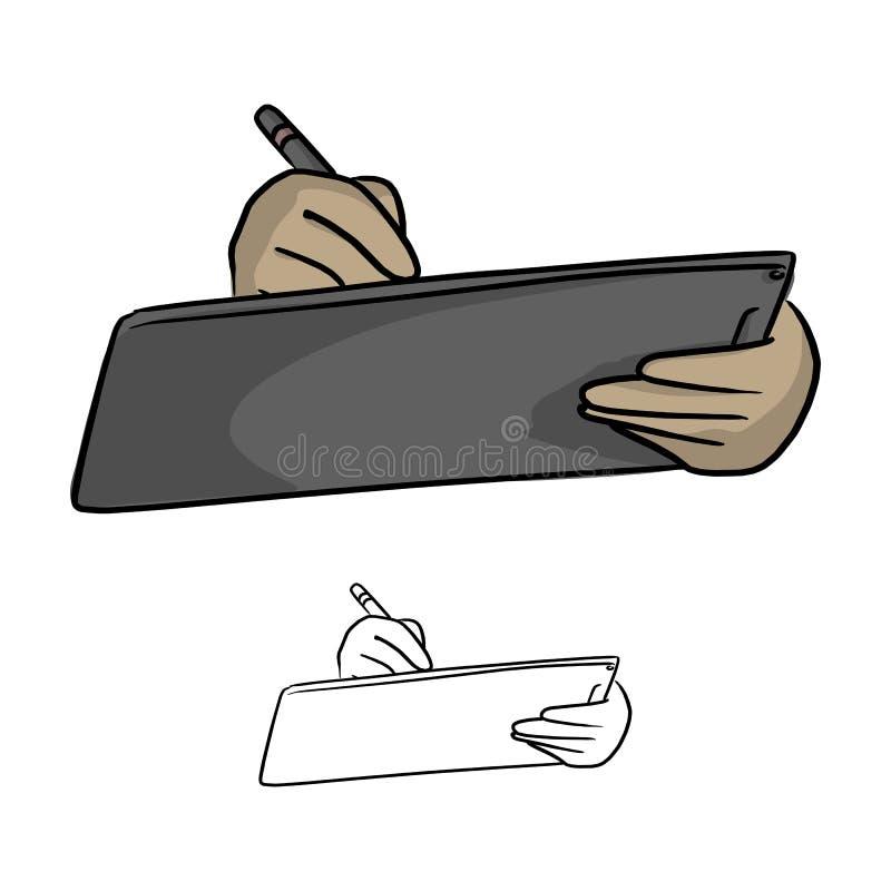 Slut upp av affärsmanhanden genom att använda nålpennan för att trycka på Det stock illustrationer