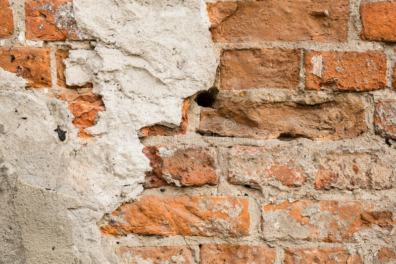 Slut upp av den gammala tegelstenväggen royaltyfri bild