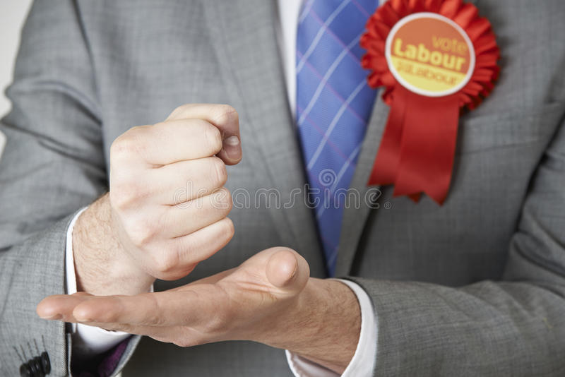 Slut upp av den Labour politikern Making Passionate Speech royaltyfria foton