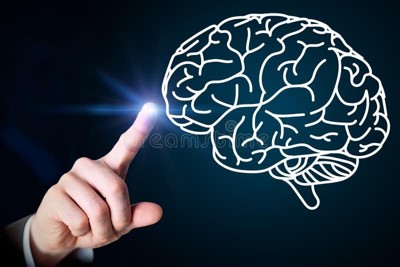 Slut upp av den rörande hjärnan för manlig hand på skärmen vektor illustrationer