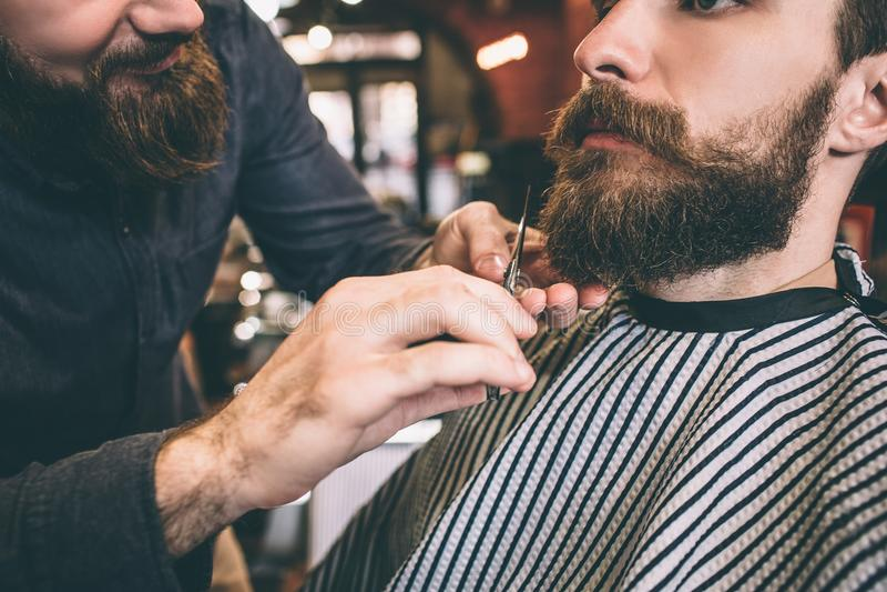 Slut upp av den skäggiga grabben Frisören klipper något av hans skägg Processen är långsam men säker och värd det snitt arkivfoto
