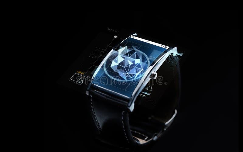 Slut upp av den smarta klockan med polygonal projektion arkivfoto