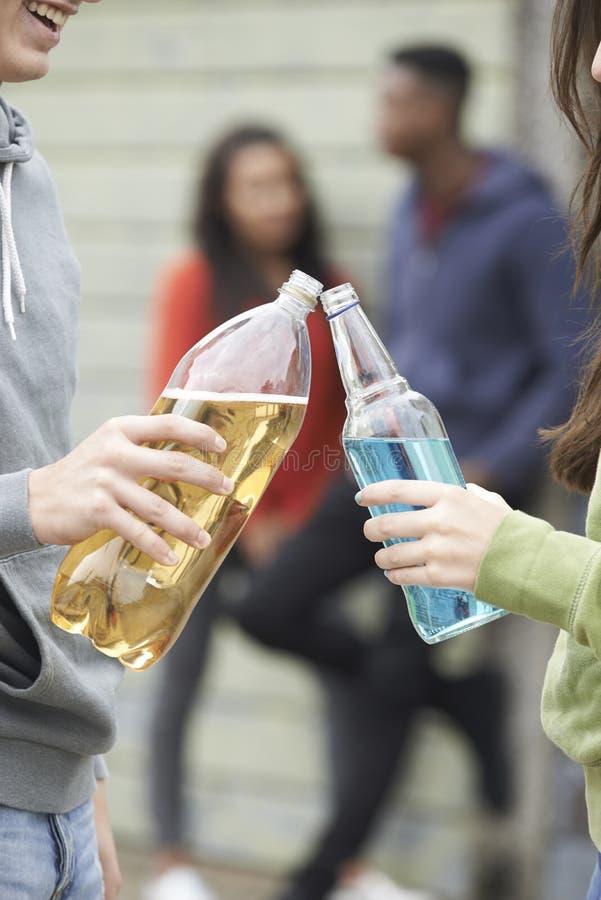 Slut upp av den tonårs- gruppen som tillsammans dricker alkohol royaltyfri foto