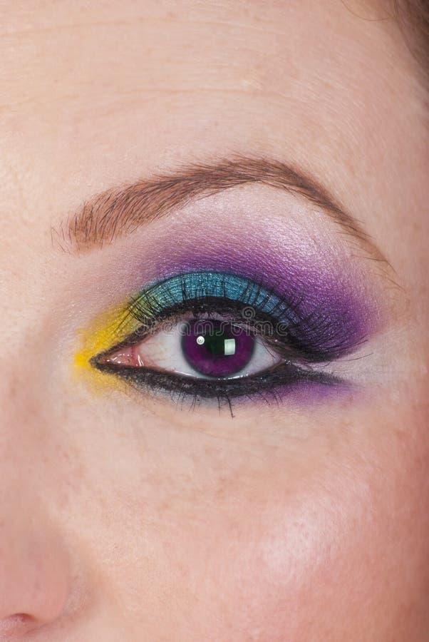 Slut upp av den ultravioletta ögonglobkvinnan arkivfoton