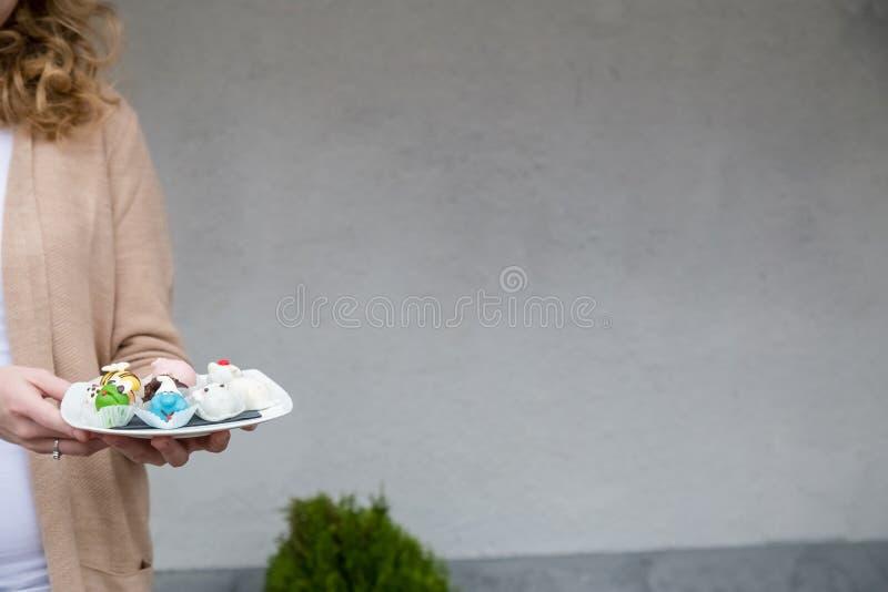 Slut upp av den utomhus- kvinnliga handen vem hållplatta med hemlagad cak arkivfoto